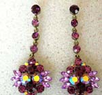 Buy wholesale ladies earring fashion supply. Cz crystal earrings with long chain and multi rhinestone flower at end