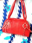 Wholesale designer inspired womens handbag fashions. Sexy red imitation leather purse