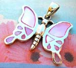 Mother of pearl jewelry wholesale shopping distrbutor. Silver plated butterfly pendant with pink mother of pearl stones inlaid in wings