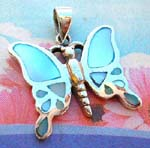 Buy mother of pearl wholesale jewelry fashions. Blue mother of pearl gems in wings of silver plated butterfly pendant