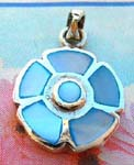 Womens pendant necklace jewelry factory distributes pendant with silver plated frame and blue mother of pearl stones