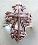 Designer inspired wholesale ring jewelry supply. Sterling silver religious cross ring in cut-out design