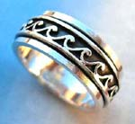Silver ring wholesale factory company. Sterling silver celtic ring with 'the wave' design on silver band