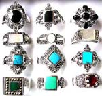 Gemstone jewelry supply manufacturer distributes Semi precious gemstone rings with sterling silver decor and band