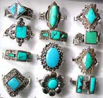 Turquoise gemstone distribution wholesale store supplies fashion rings with sterling silver frame around stone