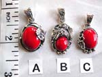 Precious gem necklace wholesale supplies. Coral colored gemstone with sterling silver leaf decor pendant